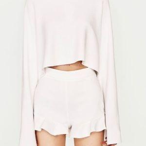 Zara white Frill shorts size XS
